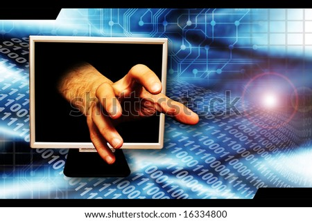 hand coming out of a computer monitor screen as concept for internet crime