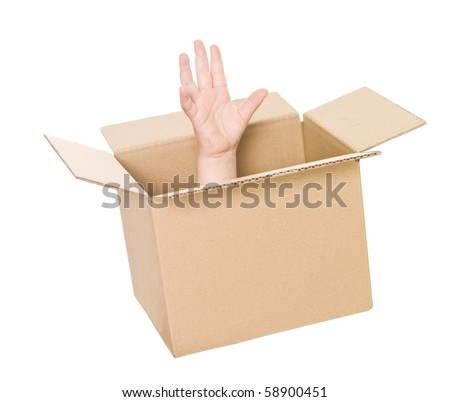 Hand coming up from a cardboard box isolated on white background