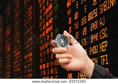 hand,compass and stock market : Concept Risk of the investment