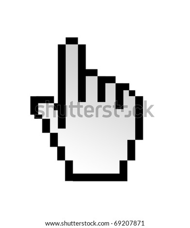 Hand computer pointer isolated on white background