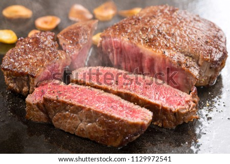 Hand cooking Wagyu beef, famous meat of Japanese