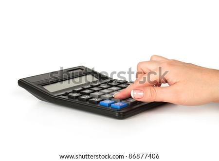 hand count on calculator isolated on white