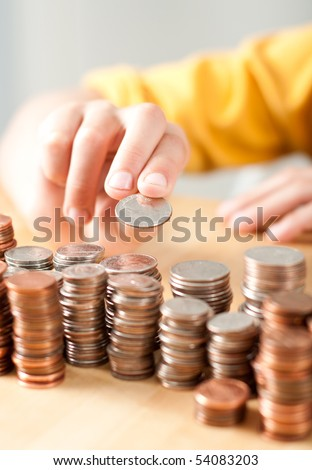 Hand Counting Coins