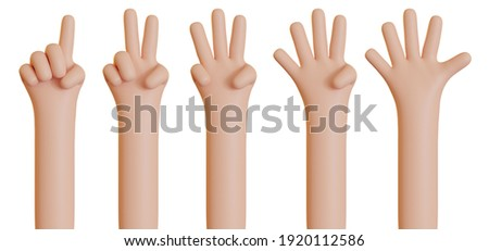 Hand counting from one to five isolated on white background. Set of stock 3D illustrations of palms with raised fingers. Communication gestures concept. Finger counter.