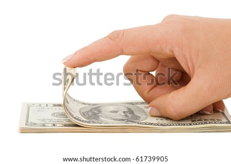 Hand counting money isolated on white background