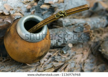 Hand Crafted Artisanal Yerba Mate Tea Leather Calabash Gourd with Straw on Wood Logs in Forest. Travel Wanderlust Concept. Earthy Tones. Traditional Argentinian Latin American Brewing Cup