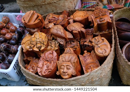 Hand crafted wooden boxes on sale on Bali island. Traditional Balinese craft,