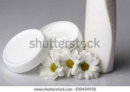 hand cream and body with white flowers