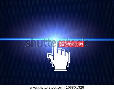 Hand cursor clicking on Contact us button Hand cursor clicking on Contact us button