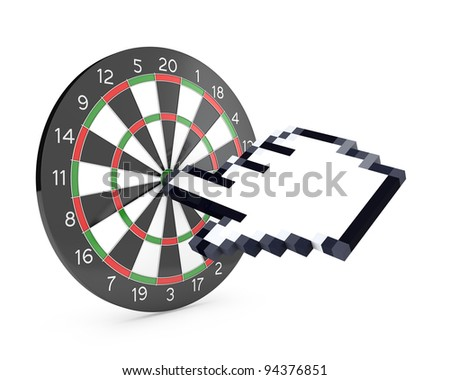 Hand cursor hits the dartboard, isolated on white background