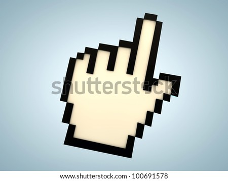 hand cursor isolated on blue background