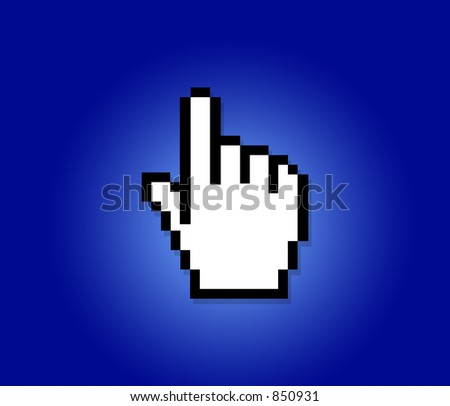 hand cursor on a blue background