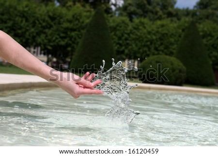 Hand dancing with the water