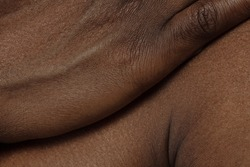 Hand. Detailed texture of human skin. Close up shot of young african-american male body. Skincare, bodycare, healthcare, hygiene and medicine concept. Looks beauty and well-kept. Dermatology.