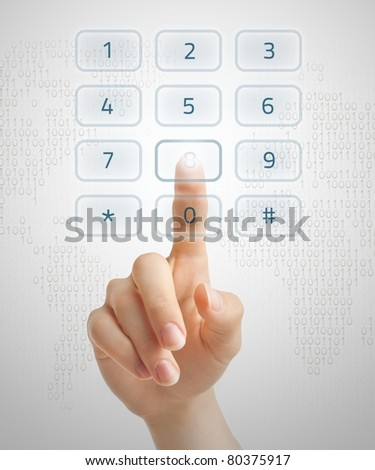 Hand dialling on holographic keypad using touch screen interface.