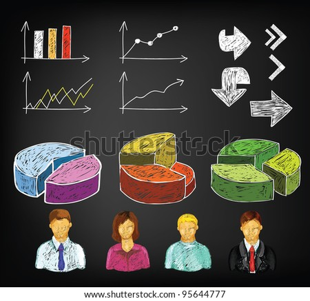 Hand draw business charts and avatars in vector