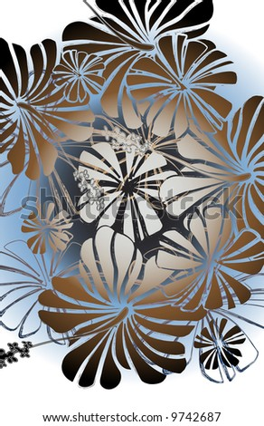 hand draw floral hibiscus with zebra striped petals in chalk outlines. gradient coloring on white ground.