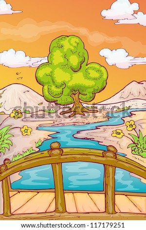 hand draw illustration of autumn landscape with single tree and bridge over the river