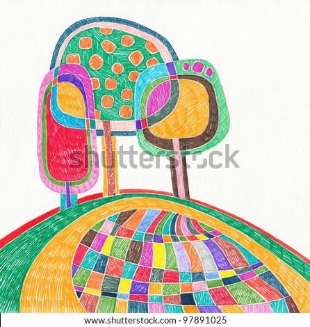 hand draw marker doodle illustration