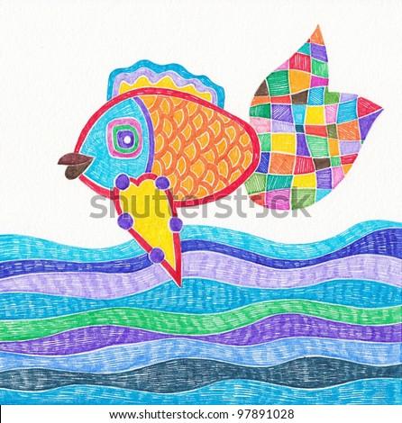 Hand draw marker doodle illustration of fish