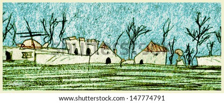 Old Village House Drawing Hand Draw Old Village With