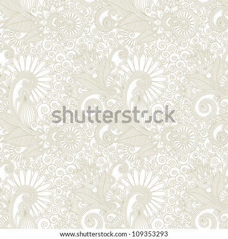 hand draw ornate seamless flower paisley design background. Raster version