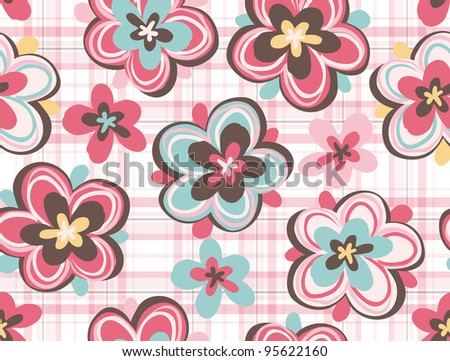 Seamless pattern with hand draw flowers, floral illustration. by