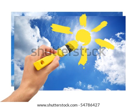 Hand draw the sun in sky. Conceptual design.
