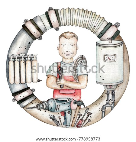 Hand draw watercolor character plumber