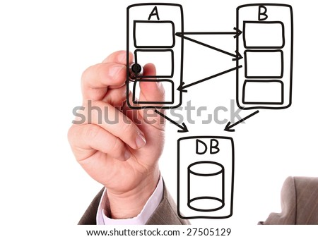 stock photo : Hand drawing a black computer system data flow diagram