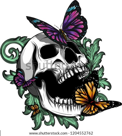 Hand drawing a bone skeleton, anatomical drawing of pelvic bone man, print for Halloween,butterflies fly, skull