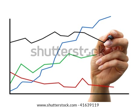 hand drawing a chart. isolated on white background
