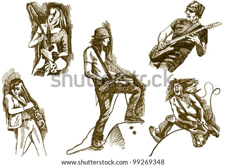 hand drawing - a collection of guitar players - rockers (bitmaps picture) - stock photo