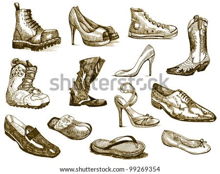 hand drawing - a collection of shoes of various types and styles (bitmaps picture)
