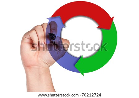 hand drawing a diagram - stock photo