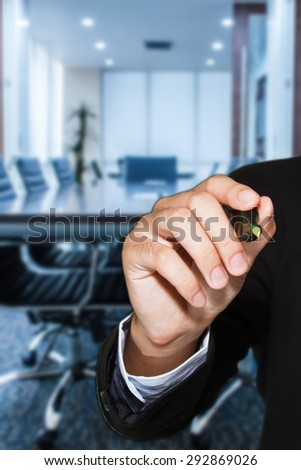 hand drawing a graph in meeting room in office business #292869026