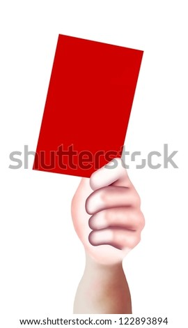 Hand Drawing, A Hand of A Sport Referee Holding A Red Card with Copy Space for Add Content or Picture