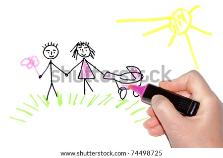 Hand drawing a happy family on walk