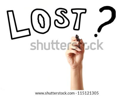 """Hand drawing a word """"Lost?"""" with black marker on the screen against white background - stock photo"""