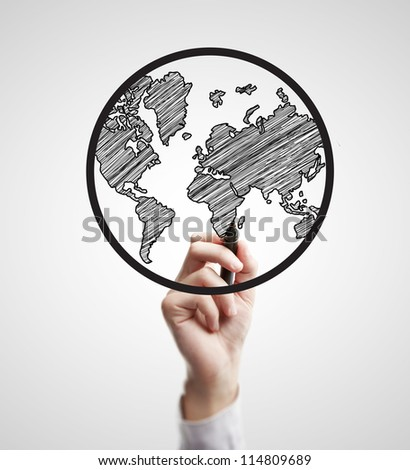 hand drawing abstract globe on a white background