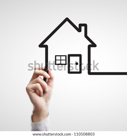 hand drawing abstract house on a white background