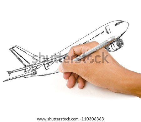 Hand Drawing Airplane for travel around the world.