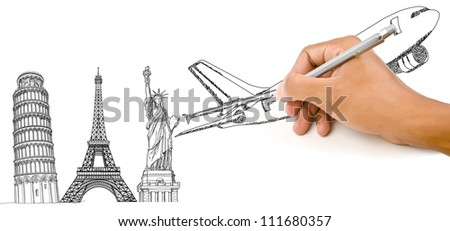 Hand Drawing Airplane for travel around the world with Pisa Tower, Eiffel Tower and Statue of Liberty.