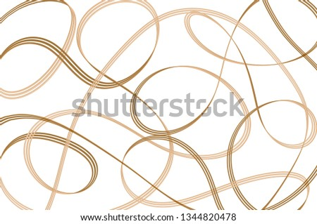 Hand drawing. Beautiful abstract brown line on white background. Art pattern. Curve and smooth. Can be use for wallpaper, print, wrapping, web or decorate any card.