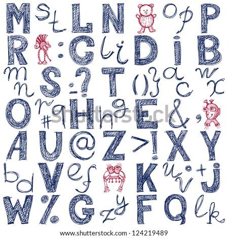 hand drawing blue doodle alphabet design, raster version