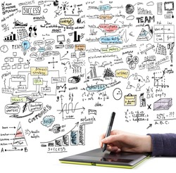Hand drawing  brainstorming doodles elements on business communication and social media theme. Isolated on white background