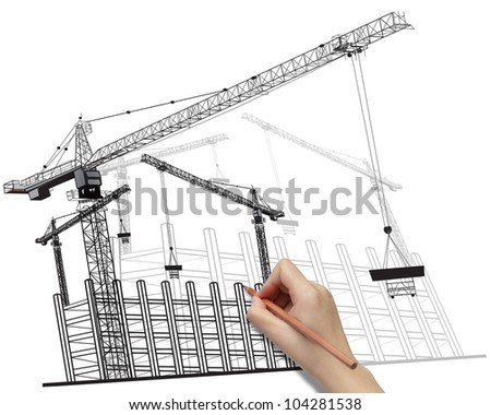 Hand drawing building development concept with cranes image isolated on white background.