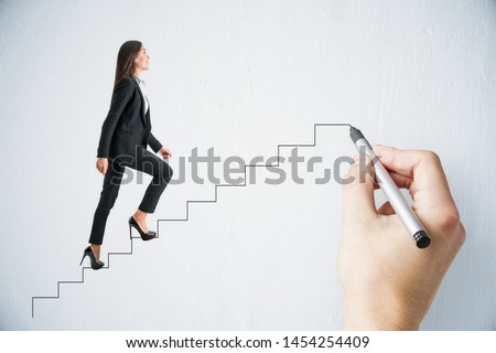 Hand drawing businesswoman walking up stairs on subtle background. Leadership and success concept  Foto stock ©