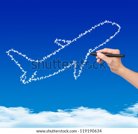 hand drawing cloud plane on blue sky