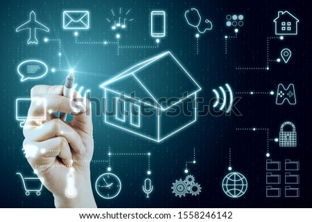 Hand drawing concept of smart home technology system with centralized control. 3D Rendering